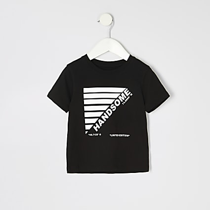 Mini boys black 'Handsome' T-shirt