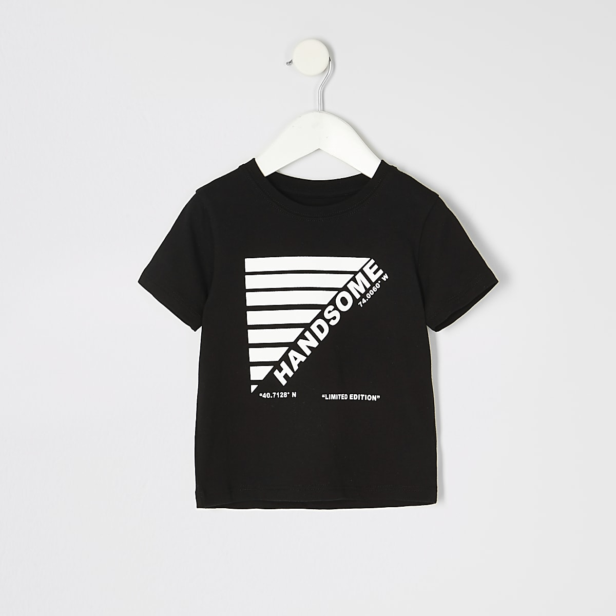 Mini boys black 'New York' print T-shirt