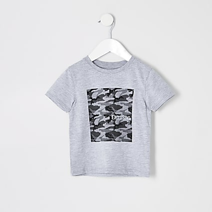 Mini boys grey camo box T-shirt