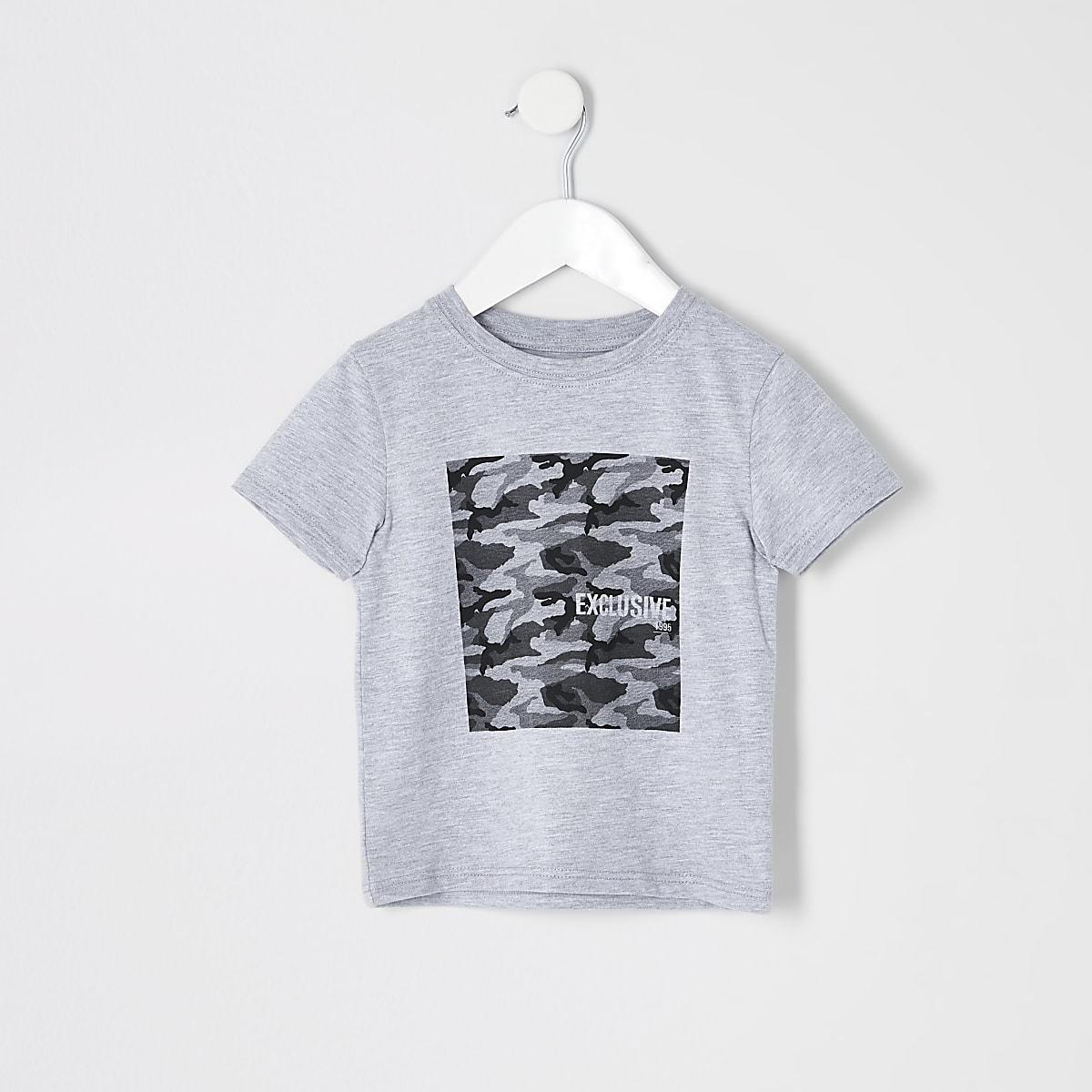 Mini boys grey camo box T-shirt