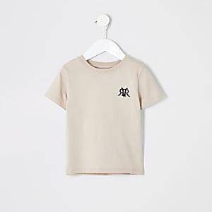 Mini - Kiezelkleurig T-shirt met RI-logo voor jongens
