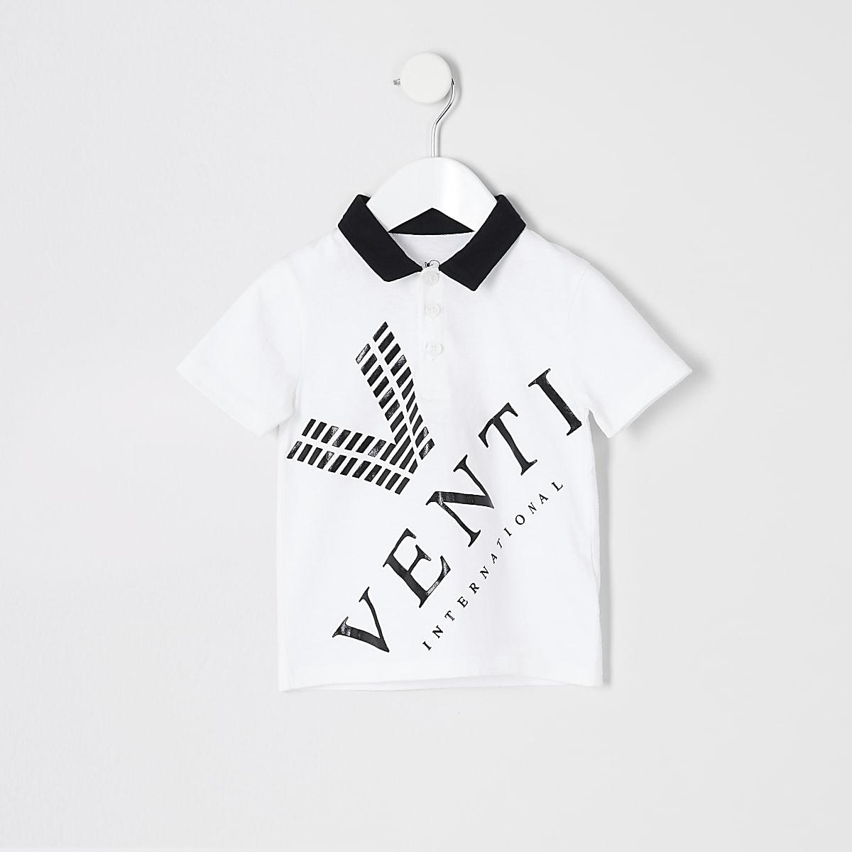 Mini boys white 'Venti' polo shirt