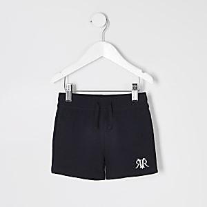Mini - Marineblauwe jersey short met RI-logo voor jongens