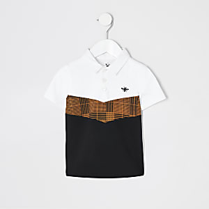Mini boys white check chevron polo shirt