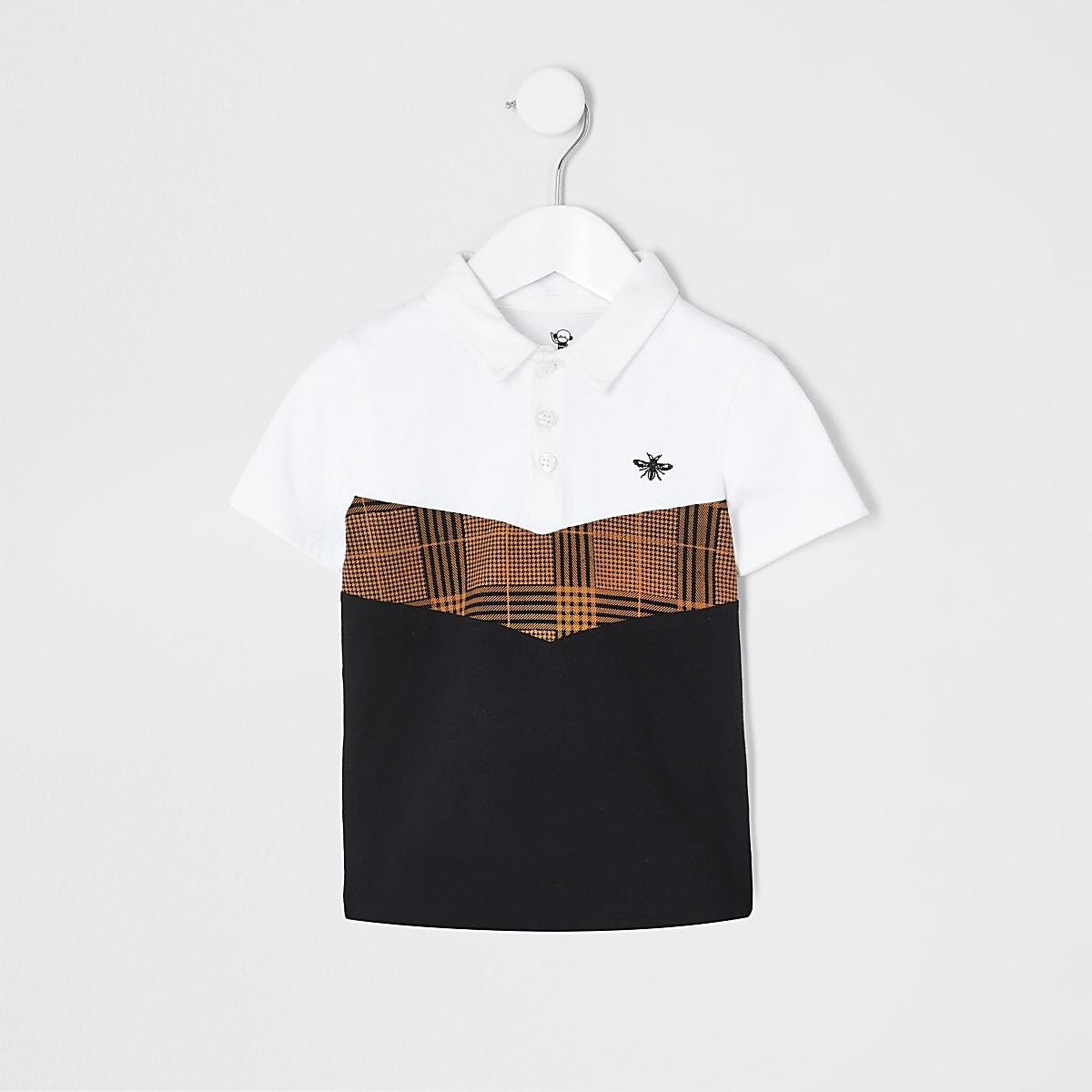 Mini boys white check chevron polo shirt