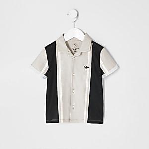 Mini - Kiezelkleurig gestreept overhemd voor jongens