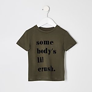Mini boys khaki 'Somebodys lil crush' T-shirt