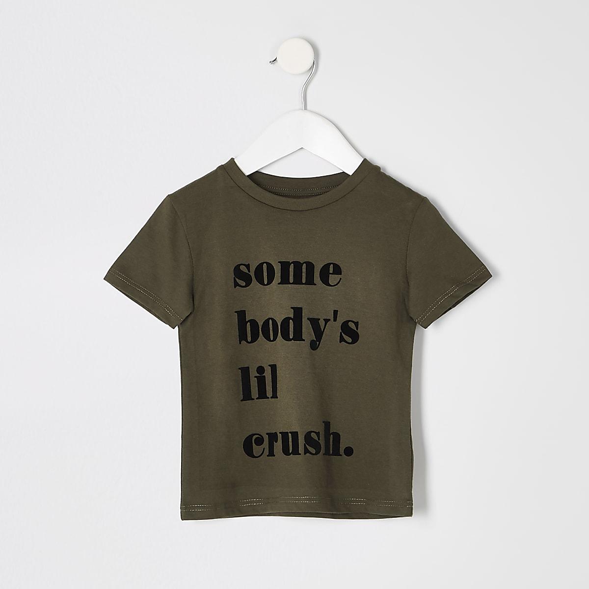 Mini boys khaki 'Somebodys lil crush' T-shirt