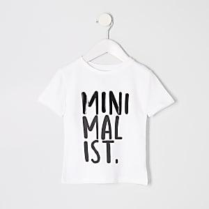 Mini - Wit T-shirt met 'Minimalist'-print voor jongens