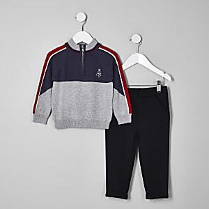 Mini - Grijze gebreide trui-outfit met opstaande kraag voor jongens