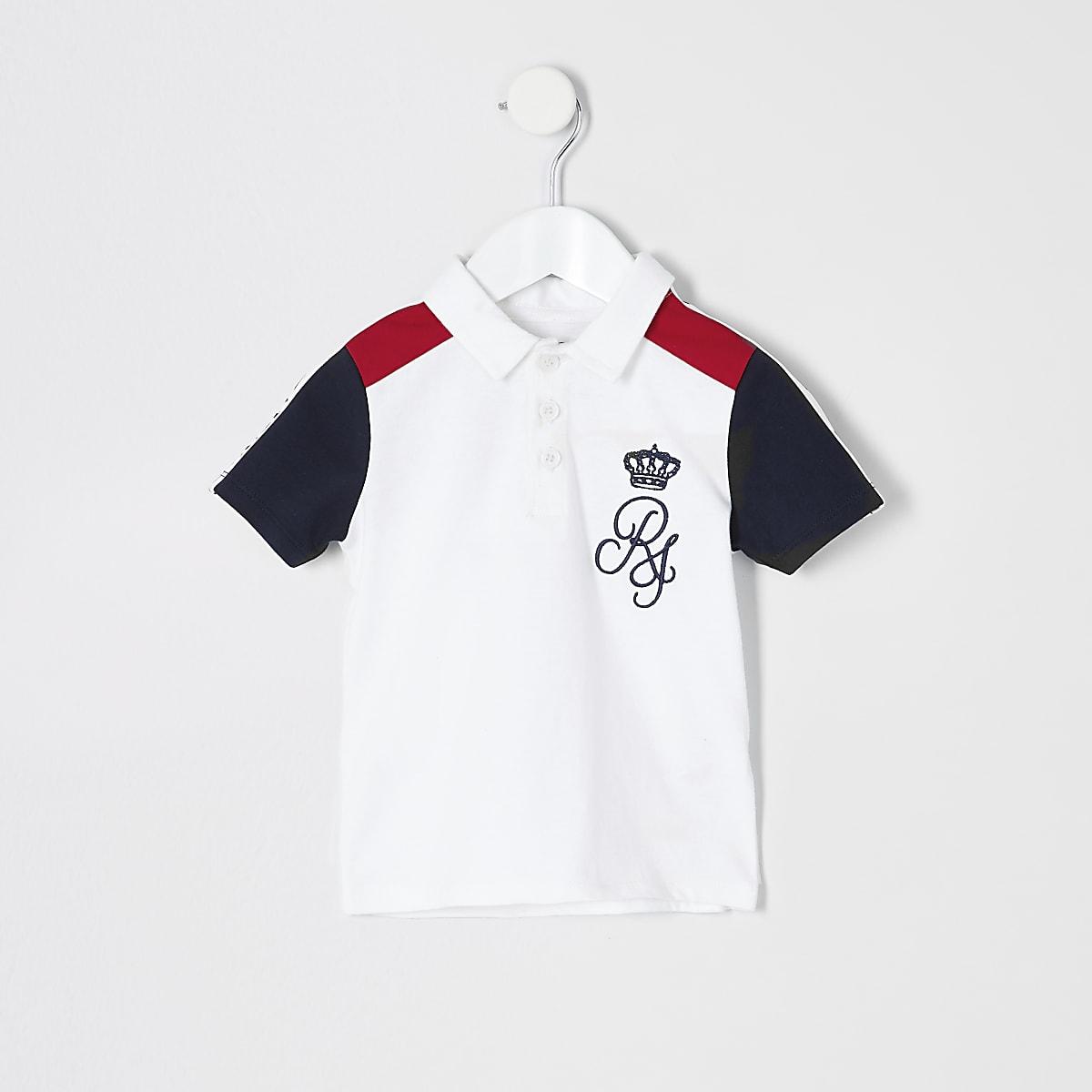 Mini boys white block polo shirt