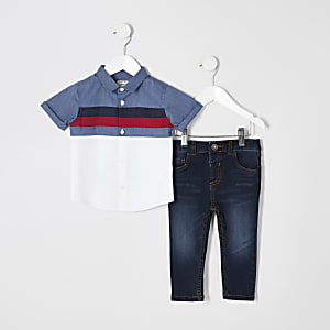 Mini - Outfit met marineblauw kleurvlakkenoverhemd voor jongens