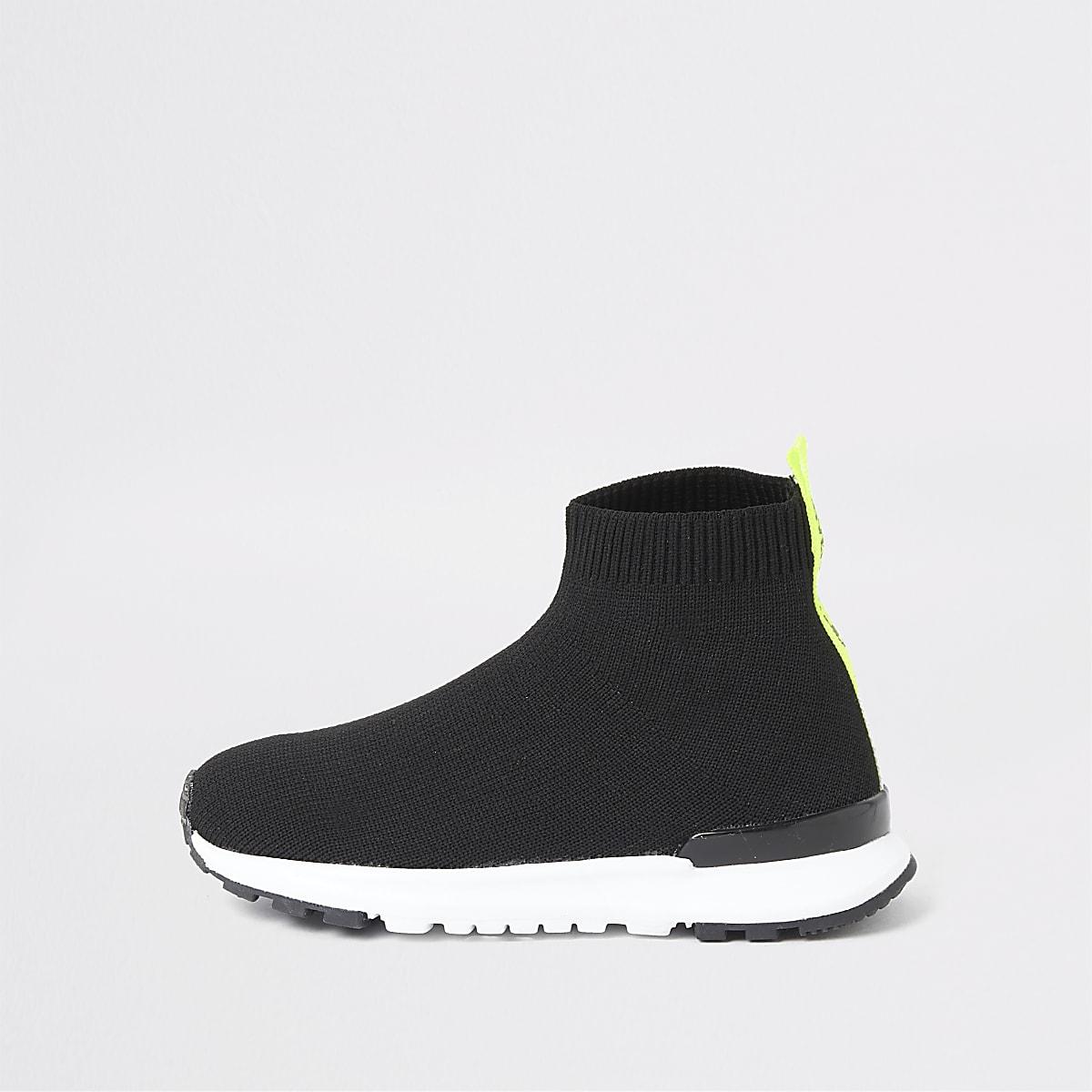 Mini boys black runner sock trainers