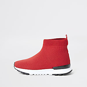 Baskets de course rouges façon chaussettes mini garçon