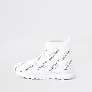Mini kids white RI sock runner trainers
