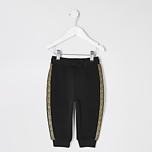 Mini boys black taped jogger
