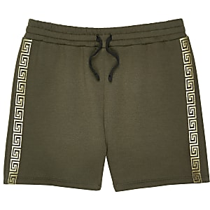 Shorts in Khaki mit Streifendesign