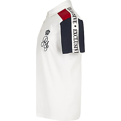 Boys white RI block polo shirt