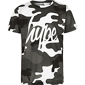 Boys grey Hype camo T-shirt