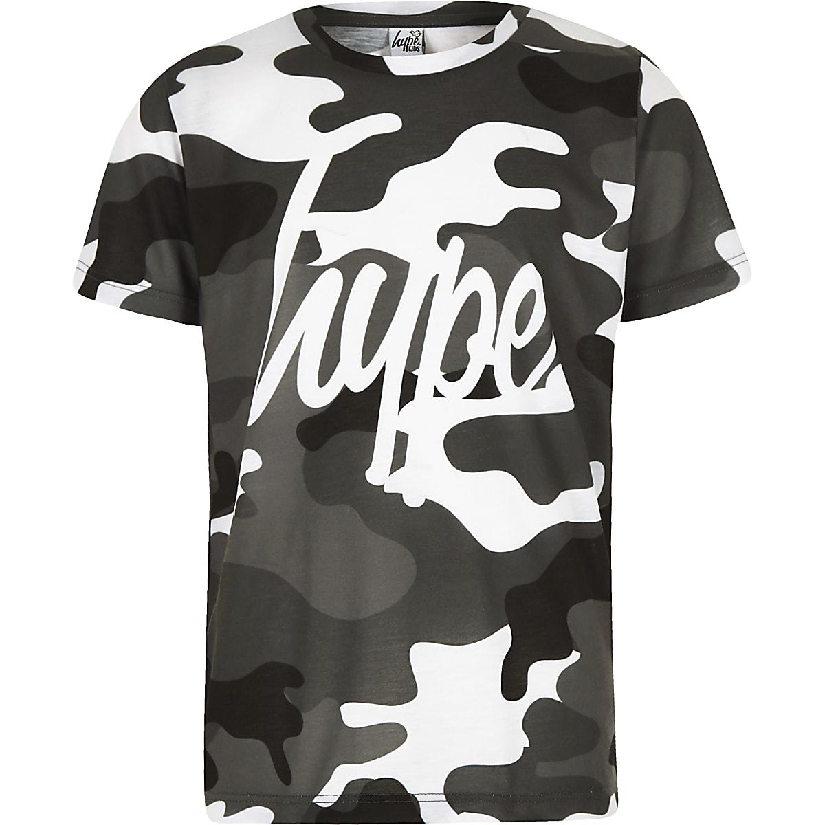 Boys grey Hype camo T-shirt