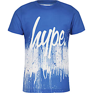 Hype – Blaues T-Shirt mit Farbspritzdesign