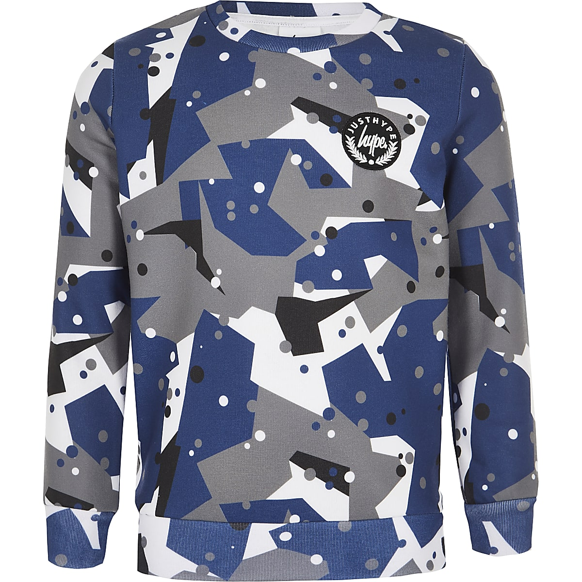 Boys Hype grey camo sweatshirt