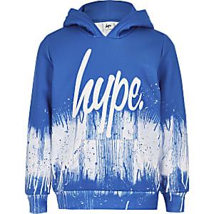Boys Hype blue paint splat hoodie