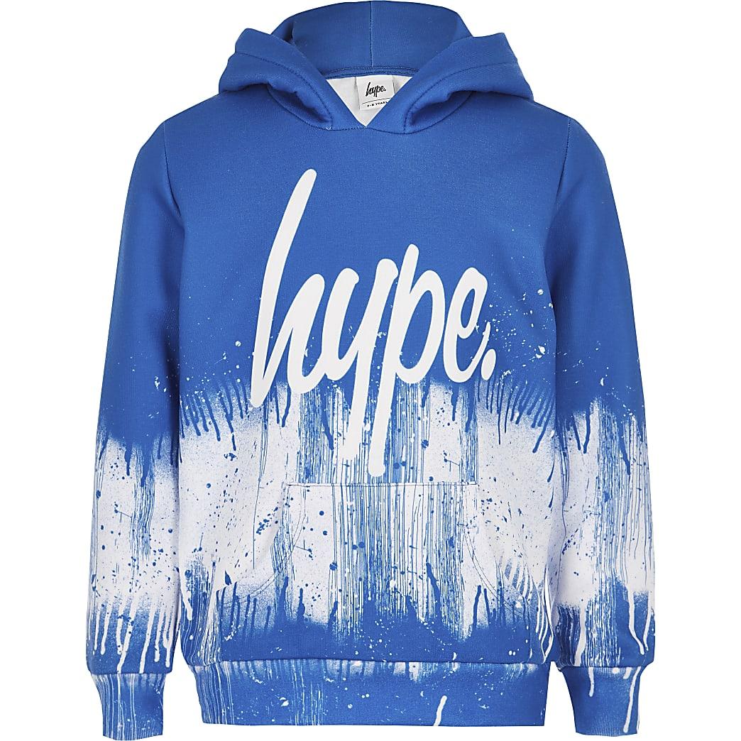 Hype – Blauer Hoodie mit Farbspritzdesign