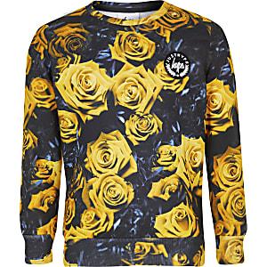 Hype – Gelbes, geblümtes Sweatshirt