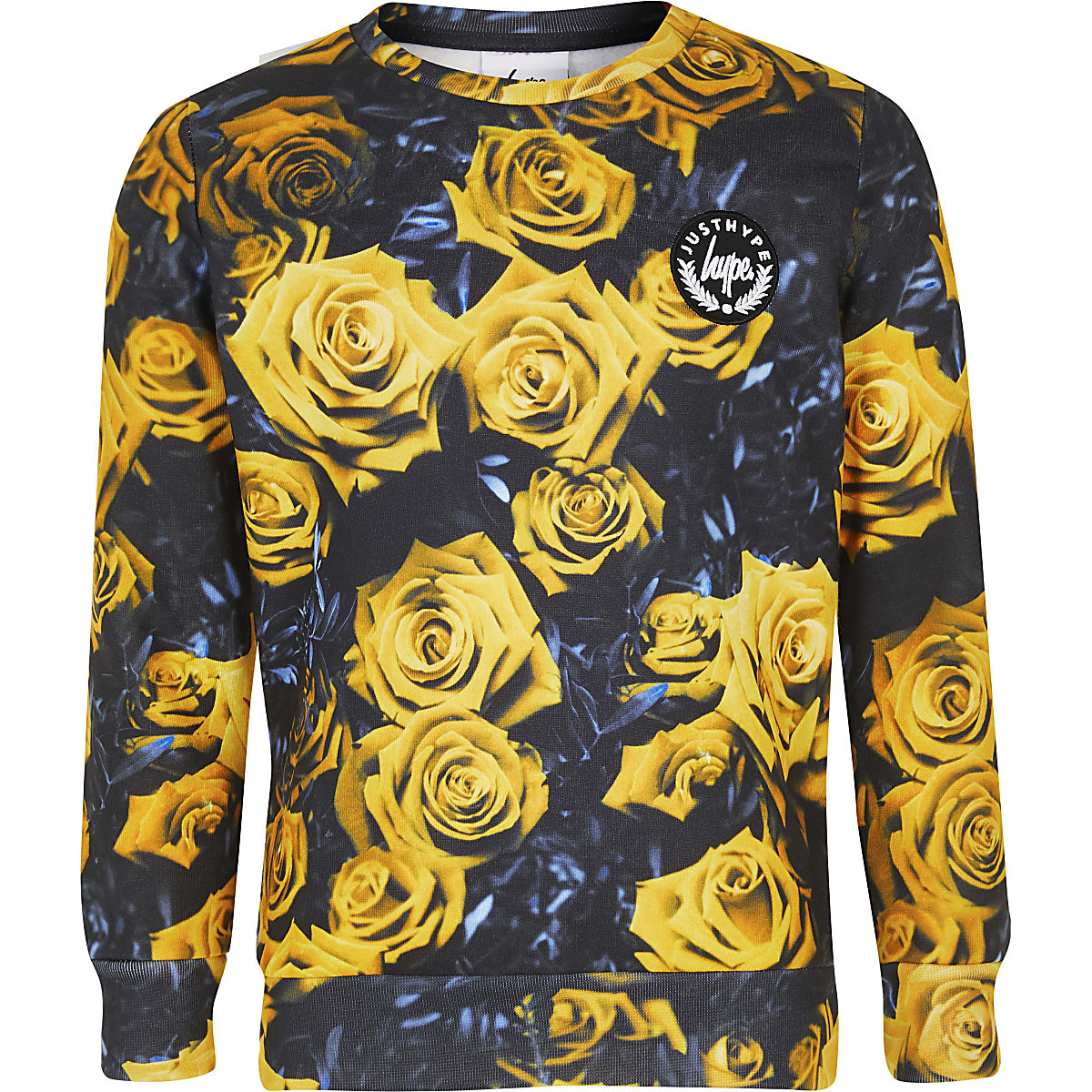 Boys yellow Hype floral sweatshirt