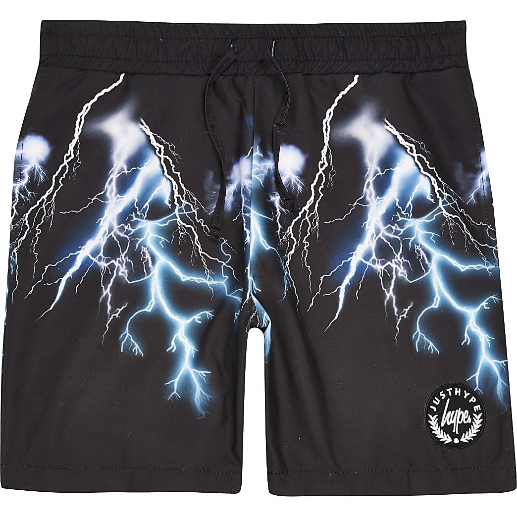 Hype - Zwarte zwemshort met bliksemprint voor jongens