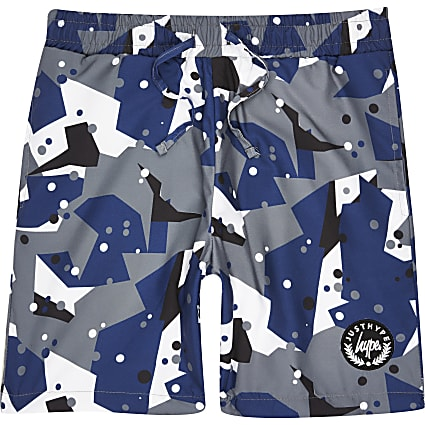 Boys grey Hype camo swim shorts