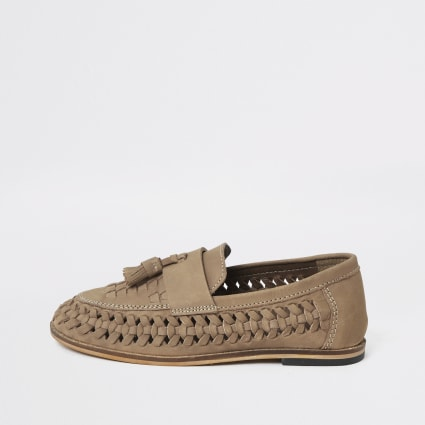 Boys light brown leather woven loafers