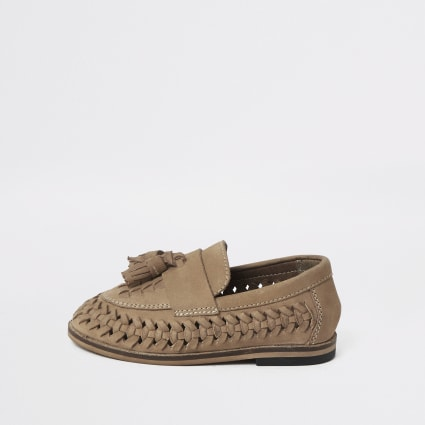 Mini boys light brown woven loafers