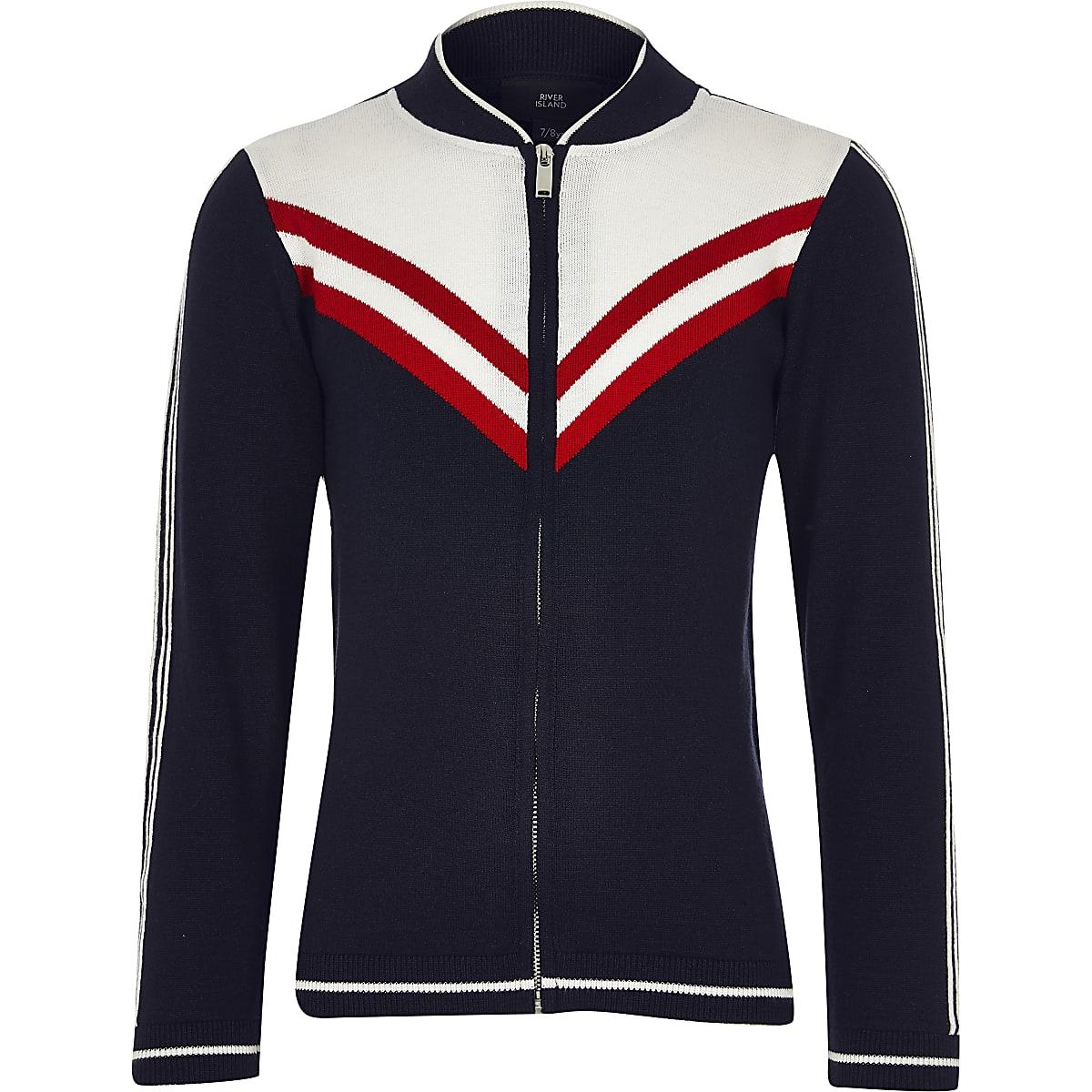Boys navy chevron knit bomber jacket