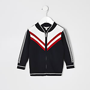 Mini boys navy chevron knit bomber
