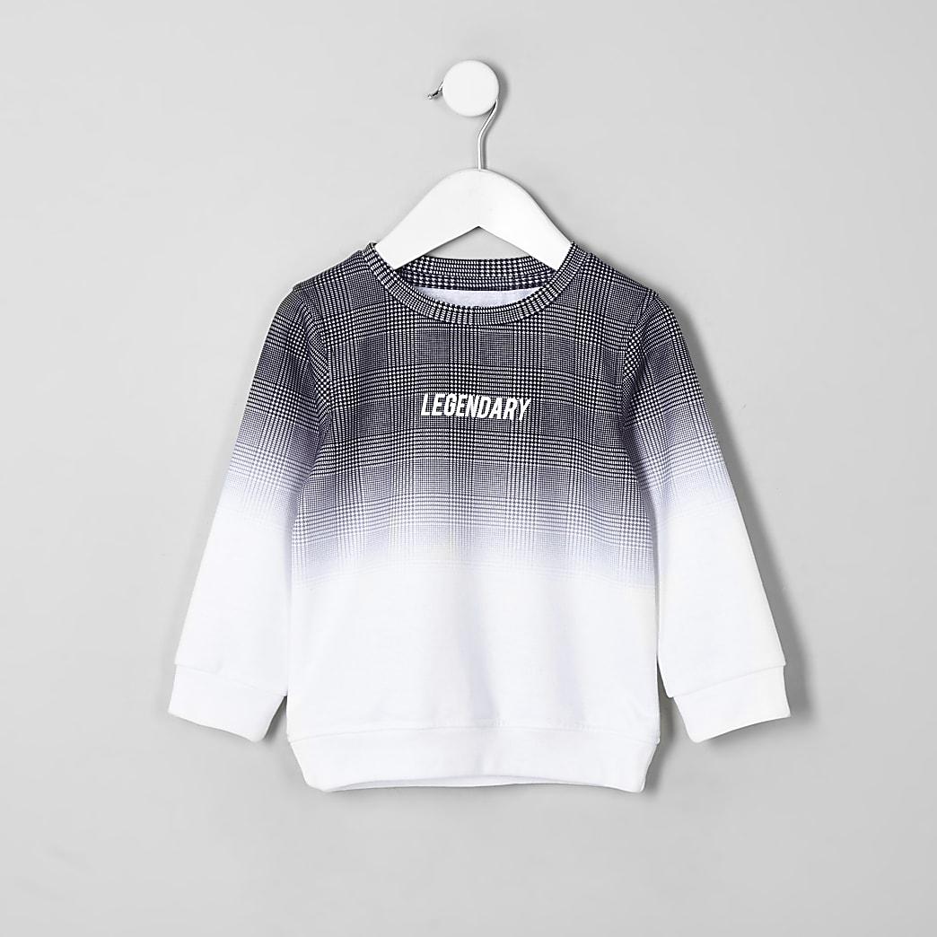 Mini boys grey check fade sweatshirt