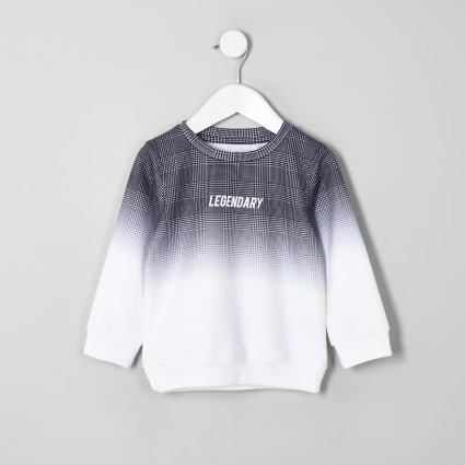 Mini boys grey check fade sweatshirt