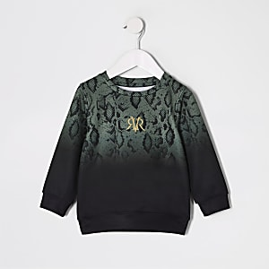Mini - Kaki sweatshirt met vervaagde slangenprint voor jongens