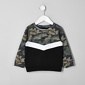 Khaki Sweatshirt mit Sparrenmuster