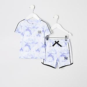 Mini - T-shirtoutfit met wolkenprint voor jongens