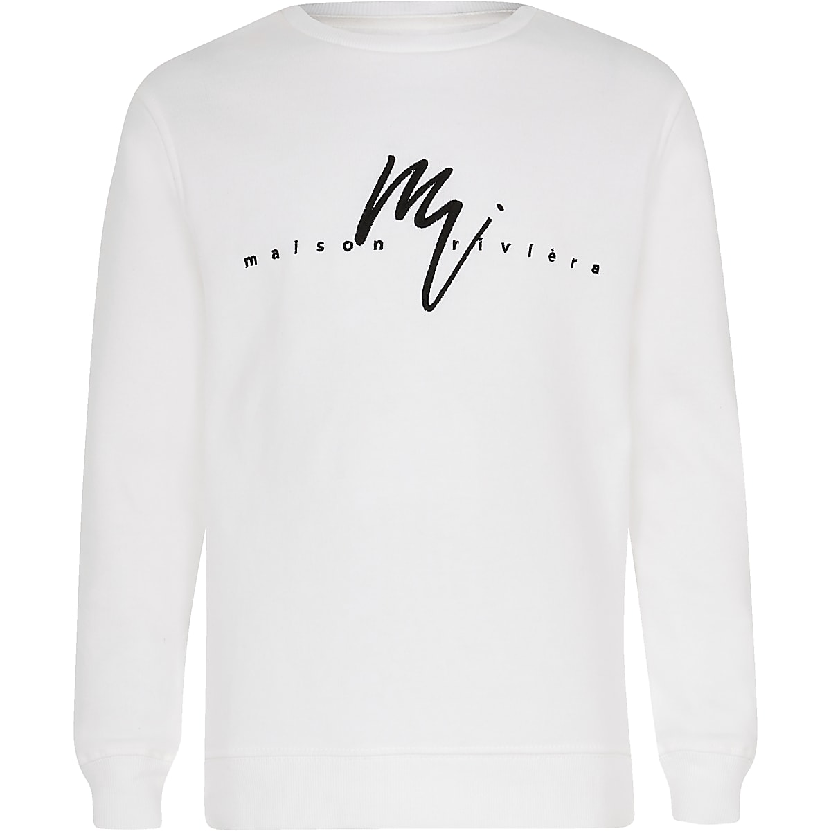 Boys white 'Masion riviera' sweatshirt