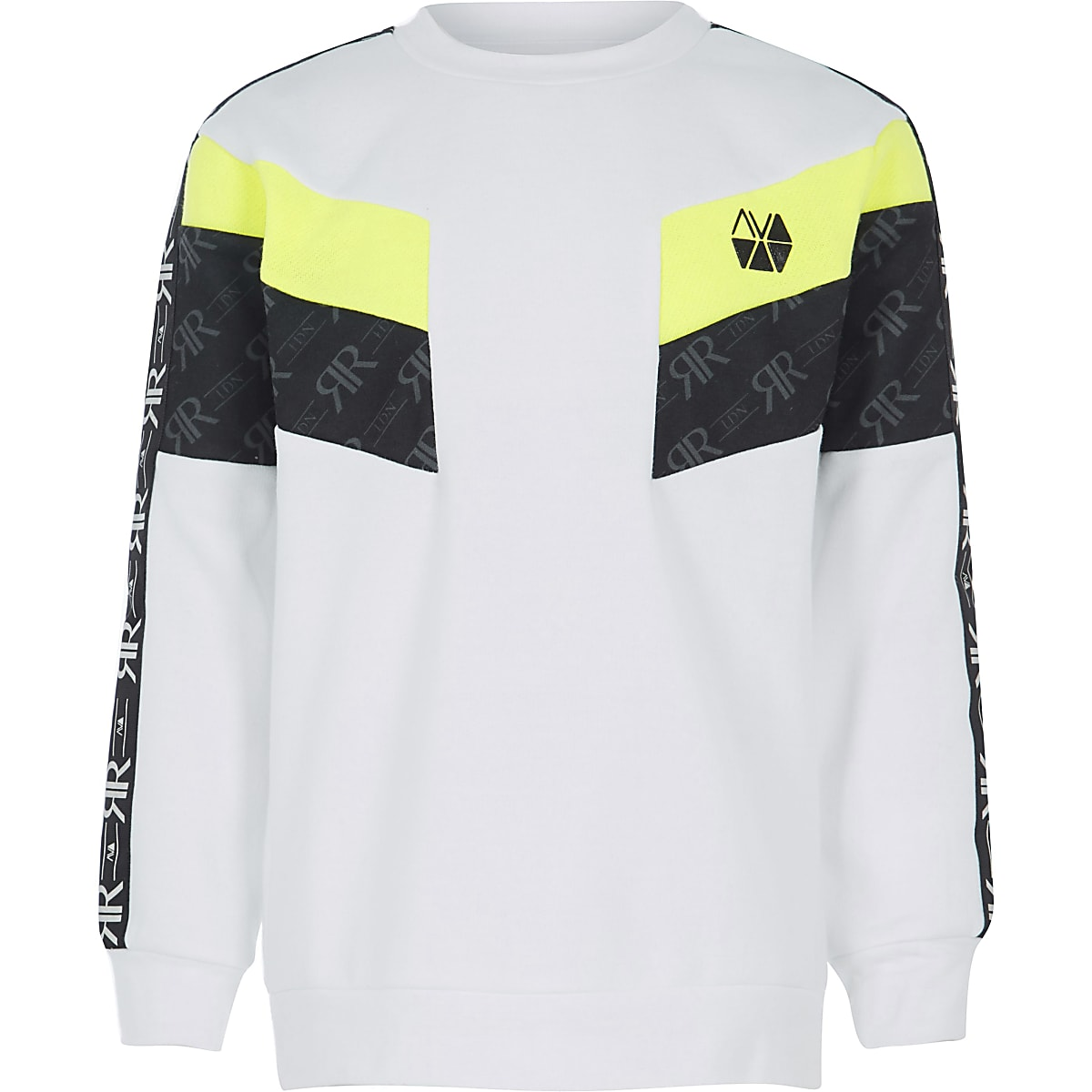RI Active – Weißes Sweatshirt in Blockfarben