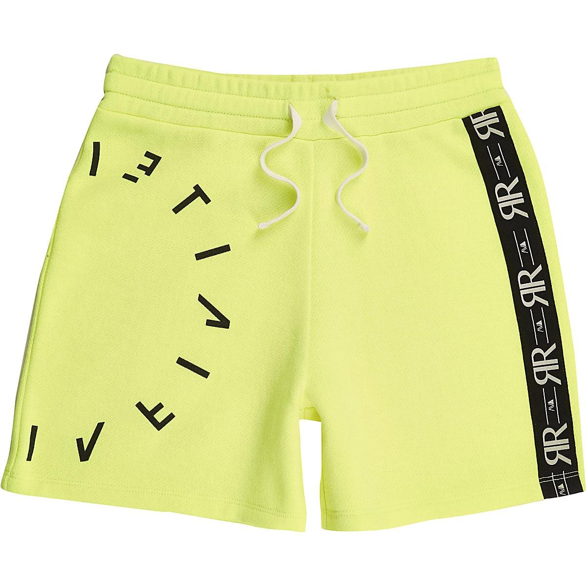 Boys RI Active neon yellow jersey shorts