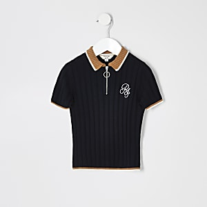 Mini boys navy contrast polo shirt