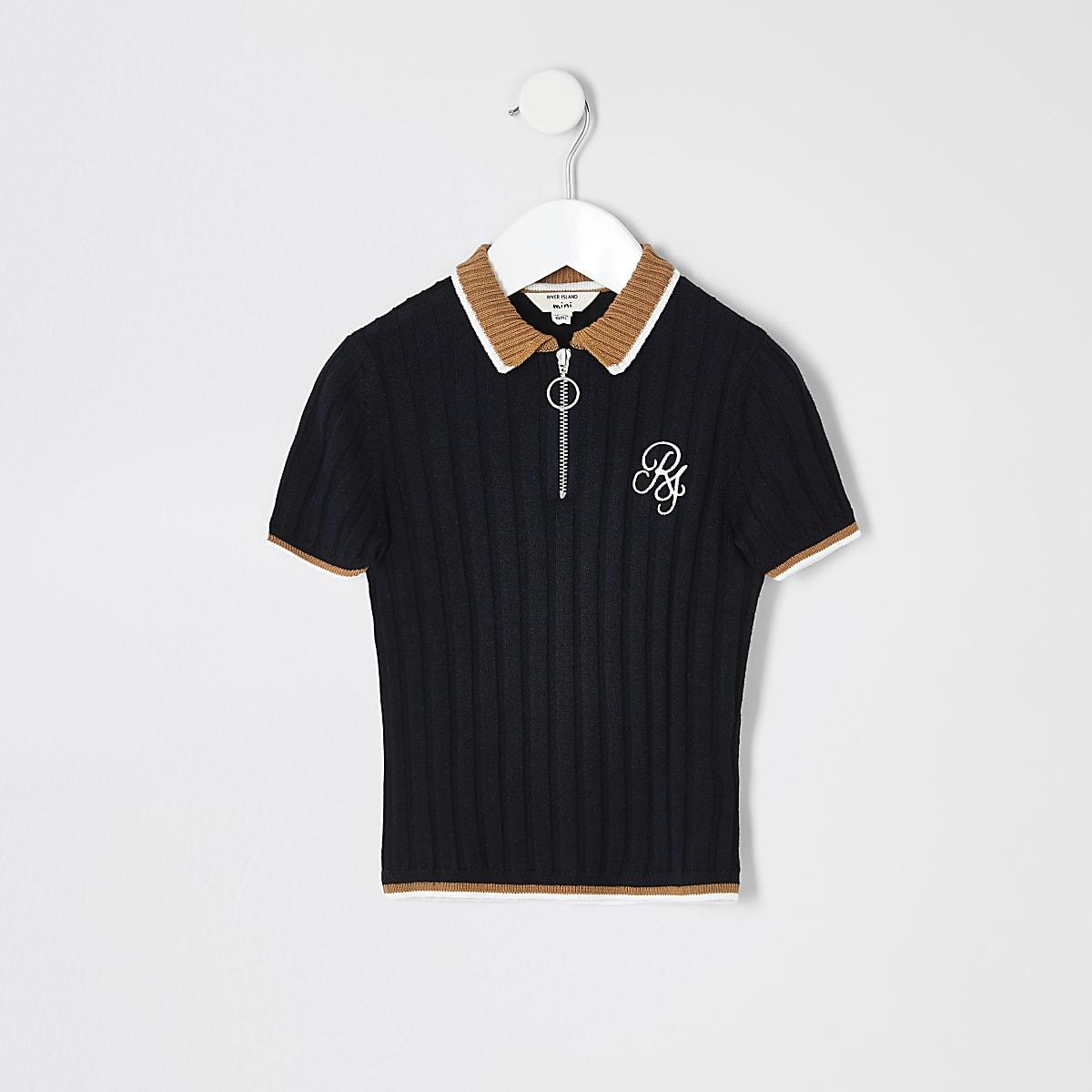 Mini boys navy contrast polo shirt