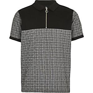 Schwarzes Polohemd mit Karomuster und Reißverschluss
