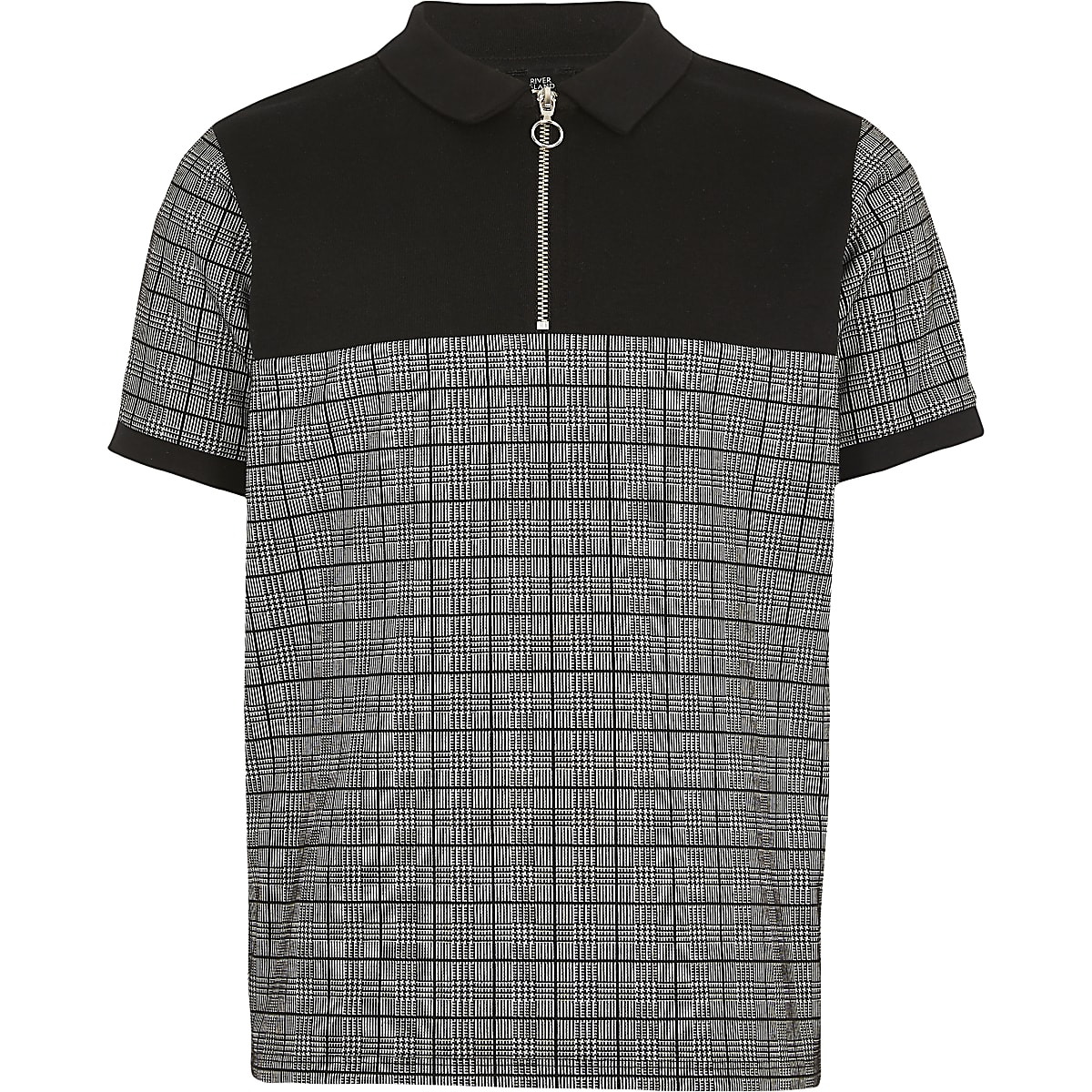 Boys black check zip neck polo shirt