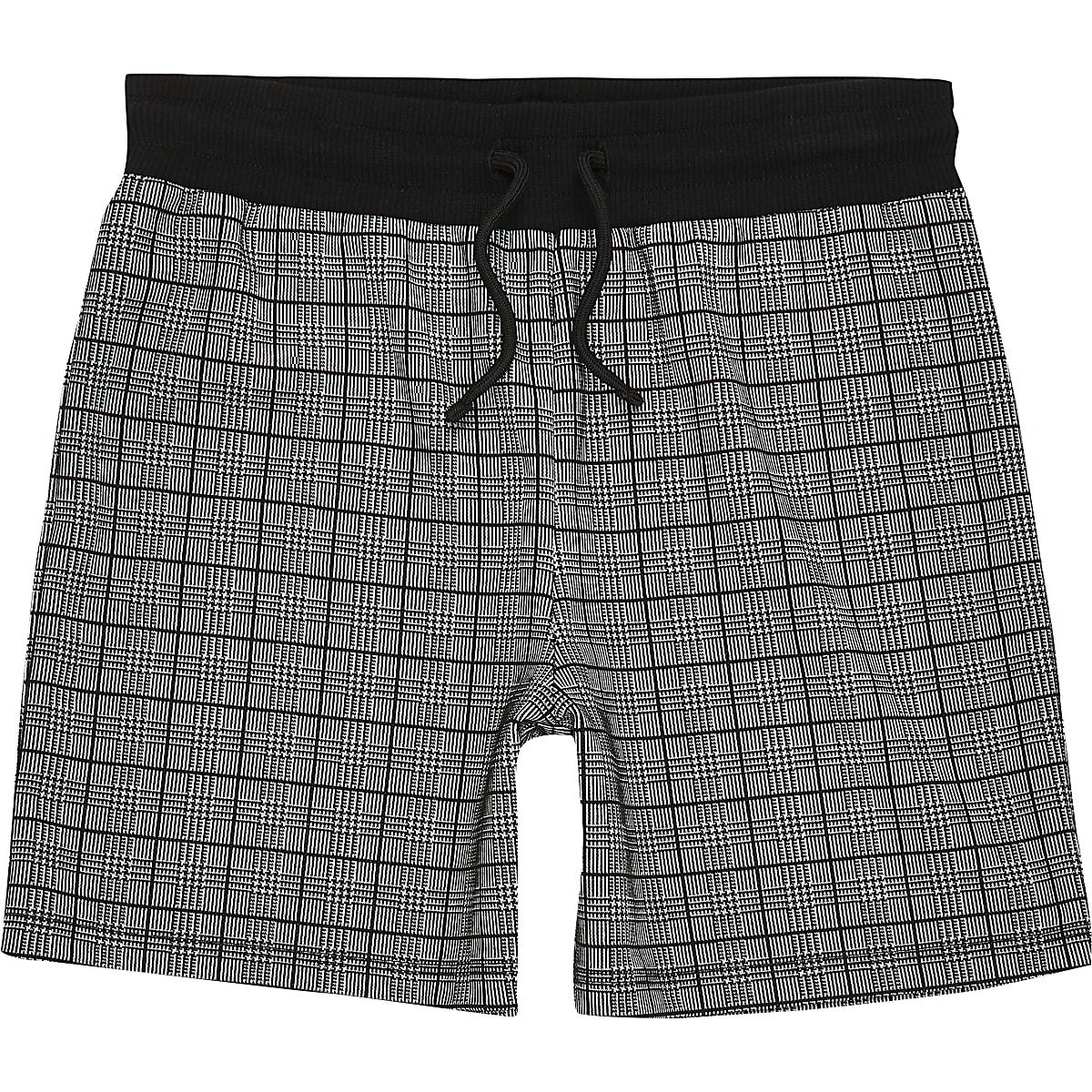 Boys black check jersey shorts