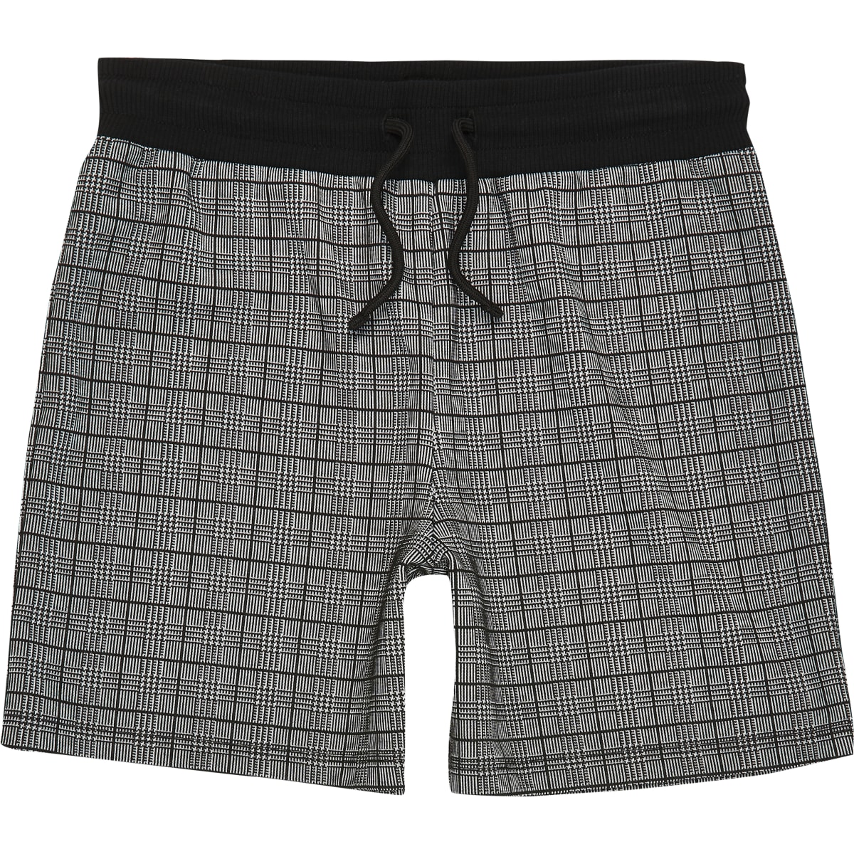 Boys black check jersey shorts